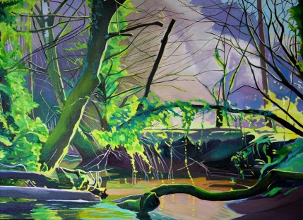 Painting of Gower woods